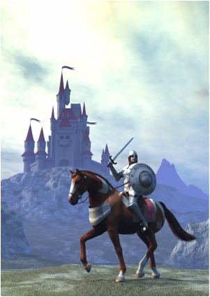 Knight with Camelot in background