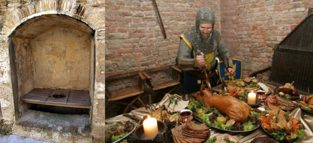 Medieval meal with toilet close by